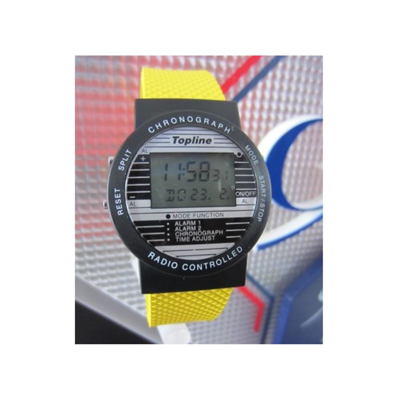 Funkarmbanduhr-schwarz-mit-Kautschuk-Armband-GELB